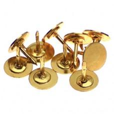 ピンバッジ土台の広い針ピンズ用金色10本セット長さ8mm直径8mmストッパー付
