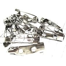ブローチ製作用のピン針10本セット20ミリ銀色ニッケル