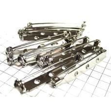 ブローチ製作用のピン針10本セット40ミリ銀色ニッケル回転式