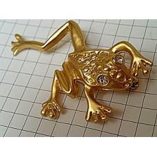ブローチ・金色のカエル蛙