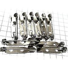 ブローチ製作用のピン針10本セット25ミリ銀色ニッケル