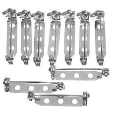 ブローチ製作用のピン針10本で1セット25ミリ 白銀色 シルバー色 回転式