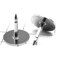 ピンバッジ土台の広い針◆ピンズ用ストッパーなし銀色10本で1セット長さ8mm直径8mmシルバー色ピンバッチ
