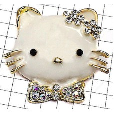ブローチ・New!白いネコ猫ラインストーン