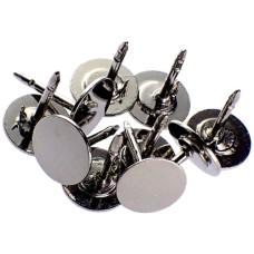 ピンバッジ土台の広い針◆ピンズ用銀色10本で1セット長さ約11mm直径8mmストッパー付