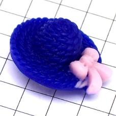 ピンバッジ・New!麦わら帽子濃いブループラスチック製