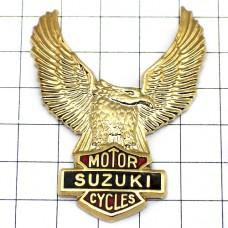 ピンズ・スズキ鷲イーグル二輪バイク金色