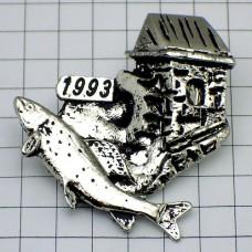 ピンズ・魚と水車小屋ピューター製フィッシング釣り