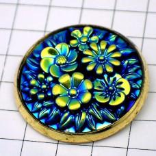 お買得ピンバッジ青い花ゴールド金色枠のピンズ