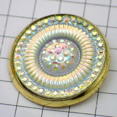 お買得ピンバッジキラキラ光る円形ゴールド金色枠のピンズ