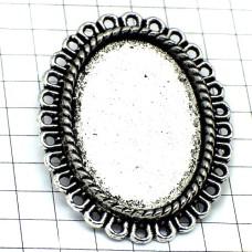 銀色ピンバッジ製作用の針付カボション土台キャッチ留め具セット