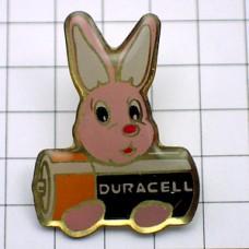 ピンズ・ピンク色ウサギのぬいぐるみ乾電池デュラセル