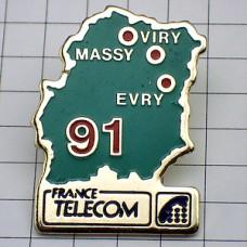 ピンズ・数字の91地図フランステレコム電話局