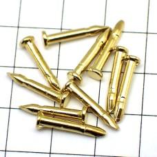 ピンバッジの針◆金色10本で1セット長さ8mm直径2mmゴールド色ピンズ用ピンバッチ