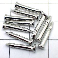 ピンバッジの針◆銀色10本で1セット長さ8mm直径2mmシルバー色ピンズ用ピンバッチ