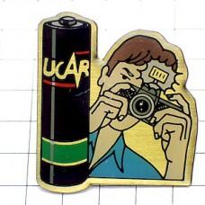 ピンバッジ・乾電池カメラ撮影フラッシュ光る
