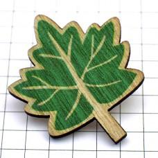 ピンバッジ・New!木製の葉っぱ