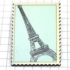 ピンズ・New!木製エッフェル塔パリ切手型