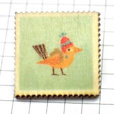ピンズ・New!木製リュックの小鳥スタンプ切手型