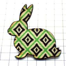 ピンズ・New!木製ウサギ四角模様