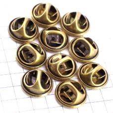 ピンバッジの留め具バタフライ型アンティーク真鍮色10個セット
