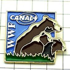 ピンバッジ・熊の親子/WWF世界自然保護基金