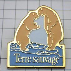 ピンバッジ・白熊シロクマ野生の大地
