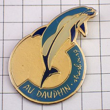 ピンバッジ・ドルフィン水色イルカ一頭