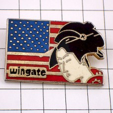 ピンズ・髪を結った日本女性とアメリカ国旗/USA星条旗