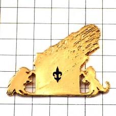 ピンバッジ・百合の紋章ライオン金色