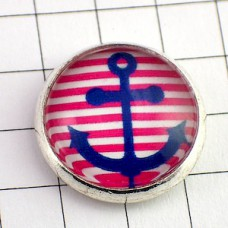 ピンバッジ・New!船のシンボル錨ボーダー縞