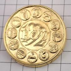 ピンバッジ・エキュ金色ユーロ硬貨型