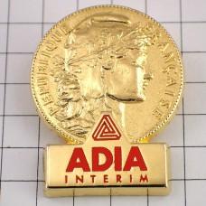 ピンバッジ・金色のコイン硬貨マリアンヌ自由の女神