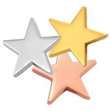 ピンバッジ・New!3色に光るスター星コパーピンク銀色金色