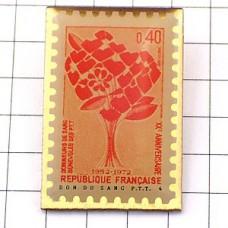 ピンズ・献血の花ラポスト切手型