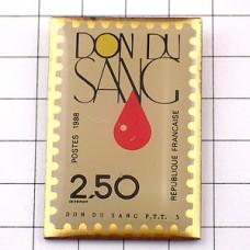 ピンズ・献血の一滴ラポスト郵便局切手型