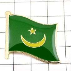 ピンズ・New!モーリタニア国旗デラックス薄型キャッチ付き三日月アフリカ星