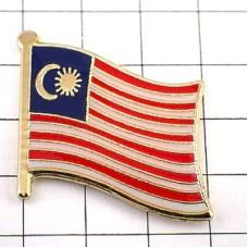 ピンズ・New!マレーシア国旗デラックス薄型キャッチ付き