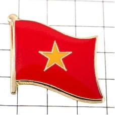 ピンズ・New!ベトナム国旗デラックス薄型キャッチ付き星ヴェトナム