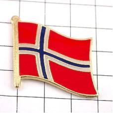 ピンズ・New!ノルウェイ国旗デラックス薄型キャッチ付きノルウェー