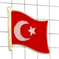 ピンズ・New!トルコ国旗デラックス薄型キャッチ付き三日月星