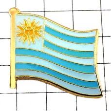 ピンズ・New!ウルグアイ国旗デラックス薄型キャッチ付き太陽
