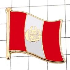 ピンズ・New!ペルー国旗デラックス薄型キャッチ付き南米
