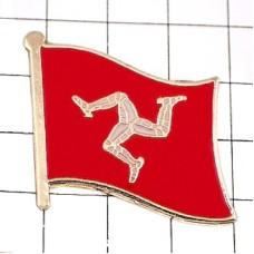 ピンズ・New!マン島イギリス旗トリスケリオン三脚巴デラックス薄型キャッチ付き三脚巴トリスケルISLE OF MAN