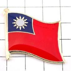 ピンズ・New!台湾国旗デラックス薄型キャッチ付き太陽
