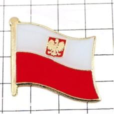 ピンズ・New!ポーランド国旗デラックス薄型キャッチ付き国章イーグル紋章