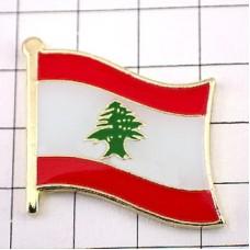 ピンズ・New!レバノン国旗デラックス薄型キャッチ付き杉の木