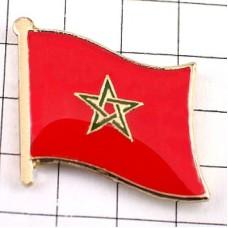 ピンズ・New!モロッコ国旗デラックス薄型キャッチ付き星アフリカ