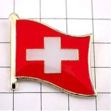 ピンズ・New!スイス国旗デラックス薄型キャッチ付き