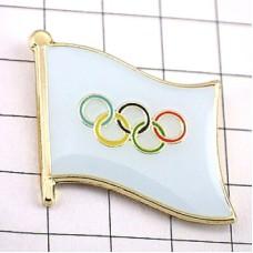 ピンズ・New!五輪オリンピック旗デラックス薄型キャッチ付きタイタック